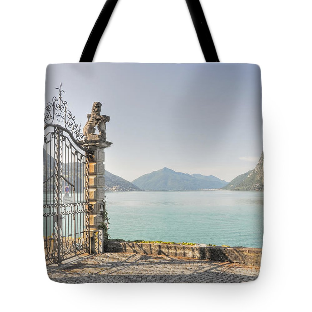 Gate Tote Bag featuring the photograph Gate On The Lake Front by Mats Silvan