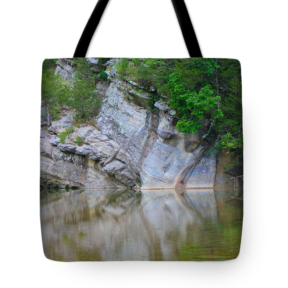Arkansas Tote Bag featuring the photograph Gator Rock by Karen Wagner