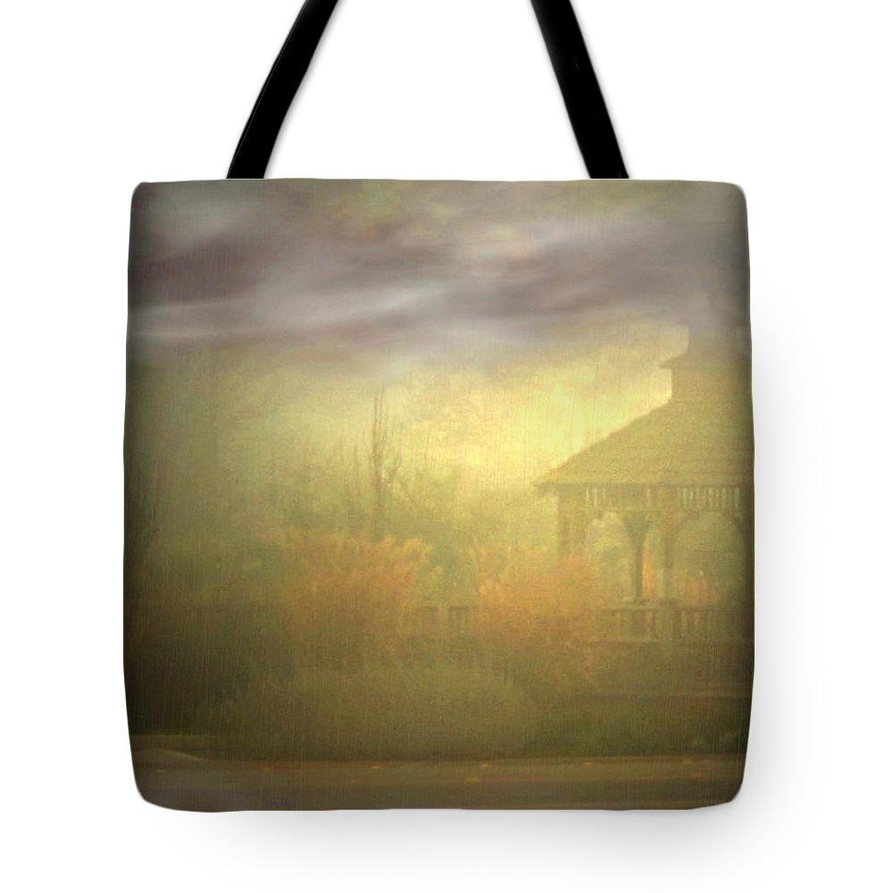 Gazebo Tote Bag featuring the photograph Gazebo Rain by Joyce Dickens