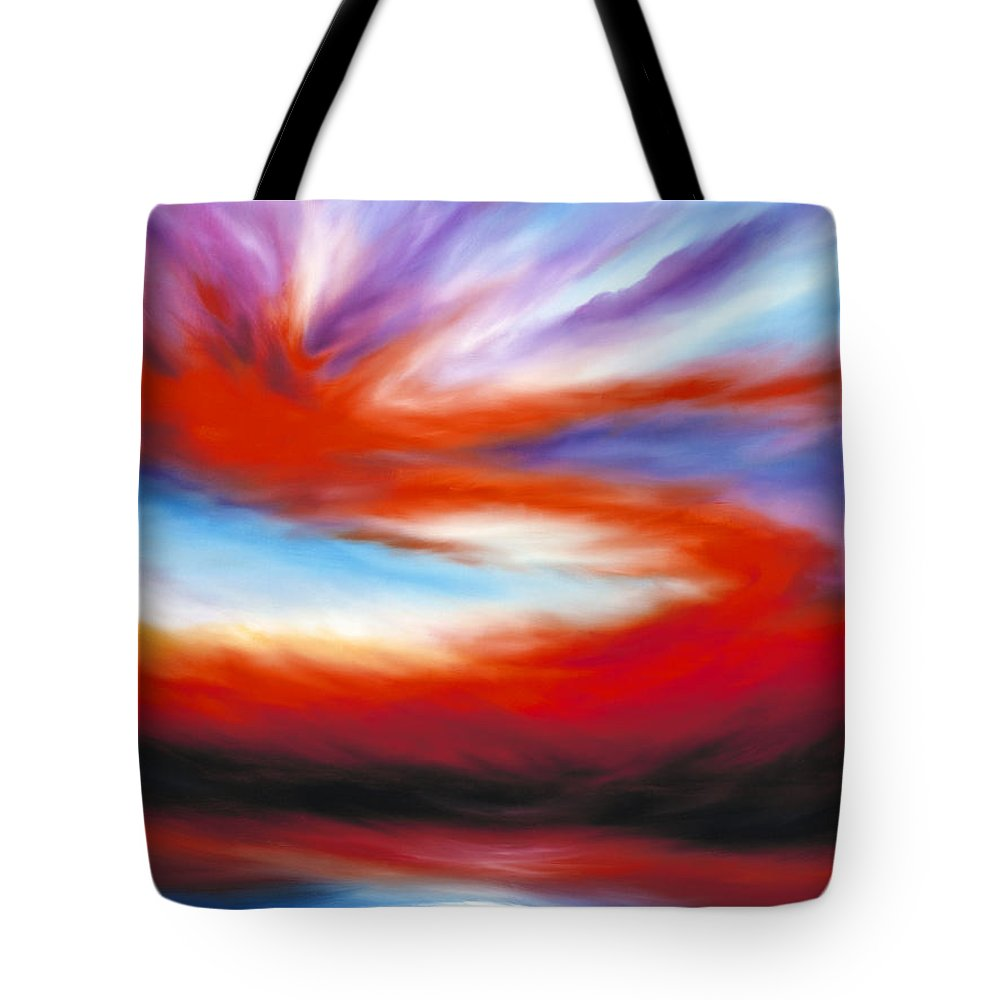 Sunrise; Sunset; Power; Glory; Cloudscape; Skyscape; Purple; Red; Blue; Stunning; Landscape; James C. Hill; James Christopher Hill; Jameshillgallery.com; Ocean; Lakes; Creation; Genesis Tote Bag featuring the painting Genesis II by James Christopher Hill