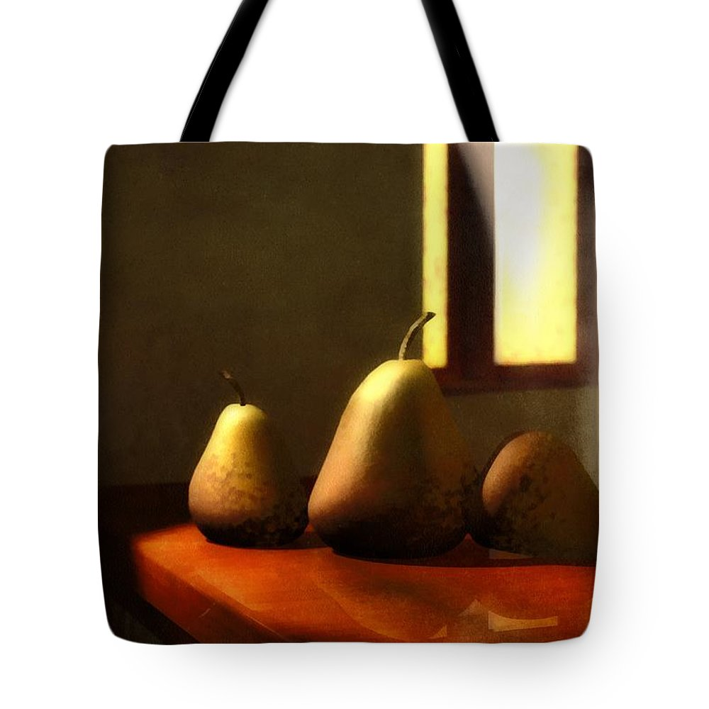 Pears Tote Bag featuring the mixed media Genetic Modification by Georgiana Romanovna