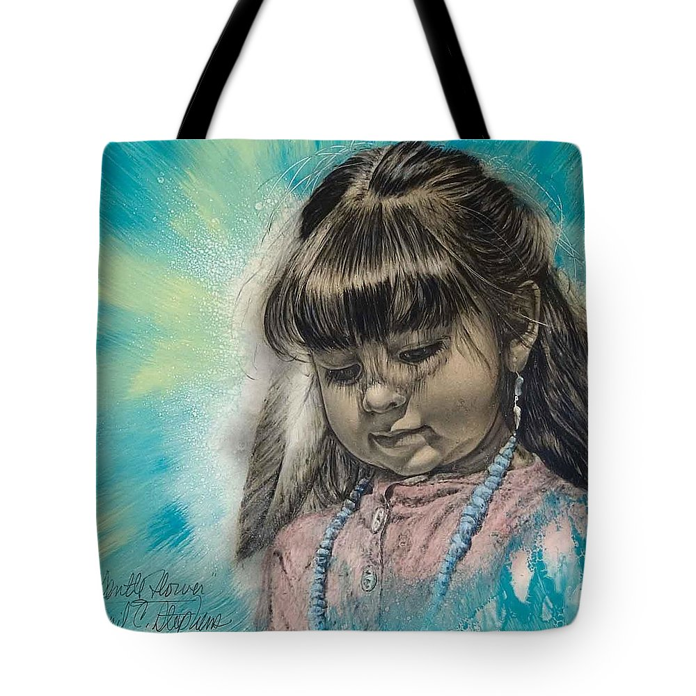Native American Indian Art Tote Bag featuring the painting Gentle Flower by Virgil Stephens