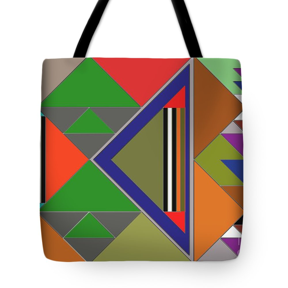 Digital Design Color Theory Co-ordination Relations Shapes Geometric Lines Forms Tote Bag featuring the painting Geometric by Vilas Malankar