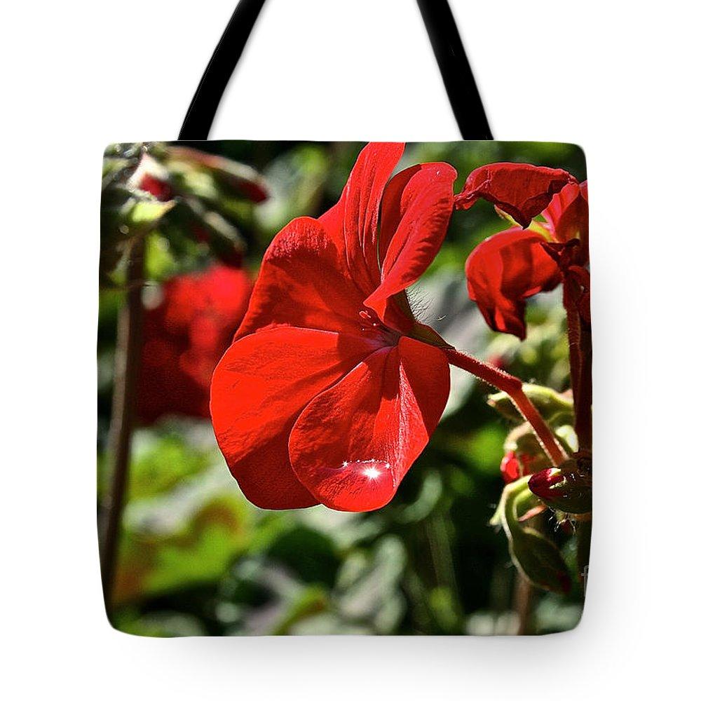 Flower Tote Bag featuring the photograph Geranium Gem by Susan Herber
