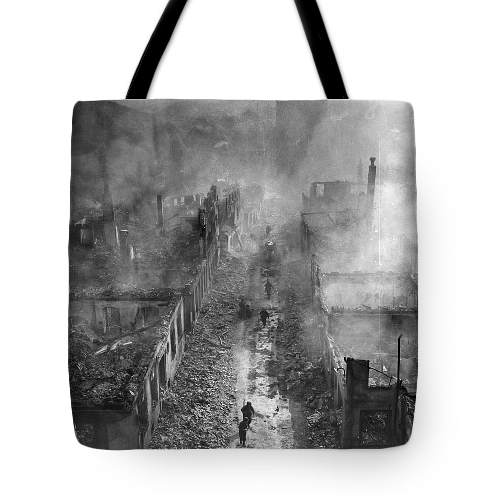1945 Tote Bag featuring the photograph German Ruins, 1945 - To License For Professional Use Visit Granger.com by Granger