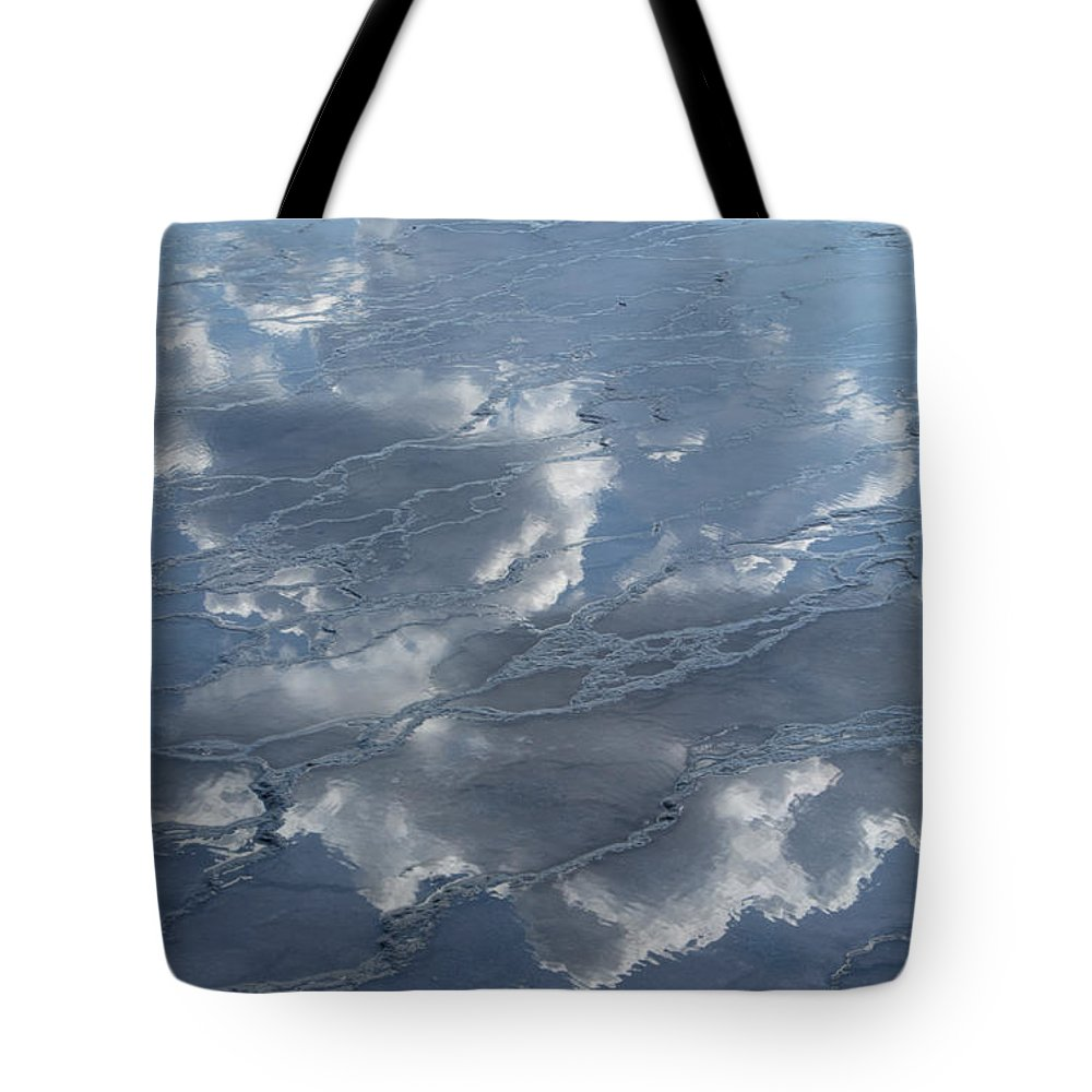 Yellowstone Tote Bag featuring the photograph Geyser Basin Cloud Reflection by Sandra Bronstein
