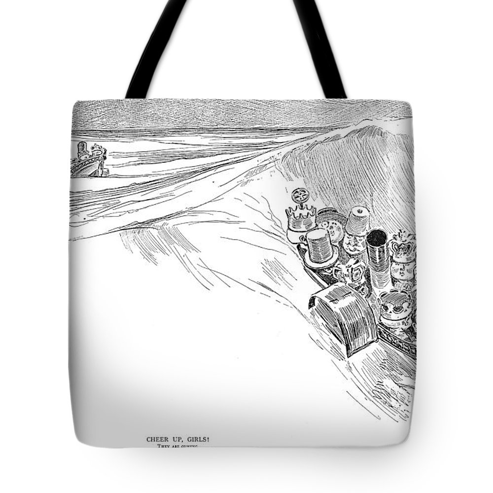 1895 Tote Bag featuring the photograph Gibson: Cheer Up, Girls! by Granger