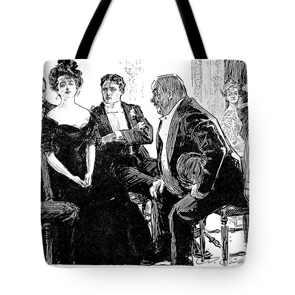 1900 Tote Bag featuring the photograph Gibson: Criticism, 1900 by Granger