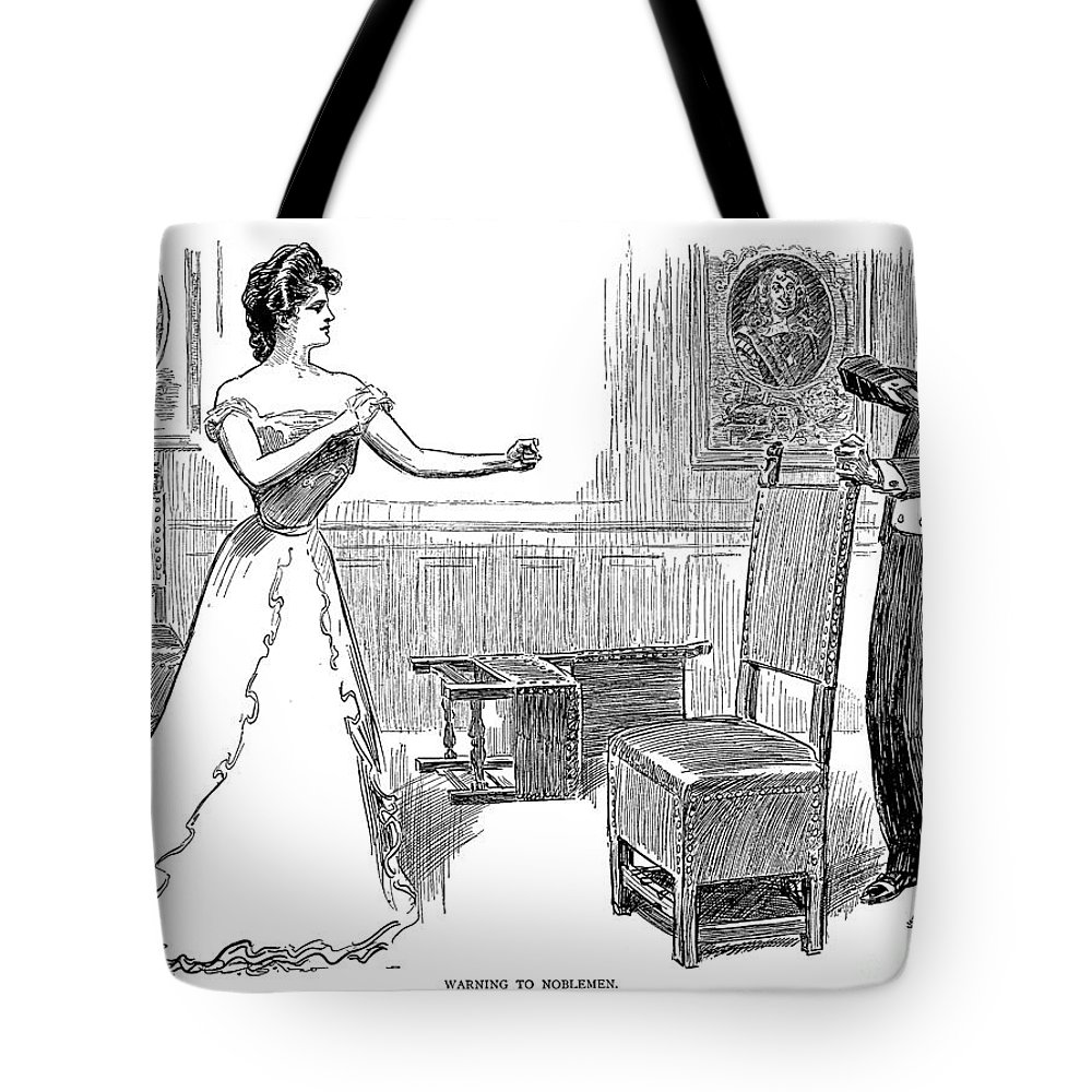 1900 Tote Bag featuring the photograph Gibson: Warning, 1900 by Granger