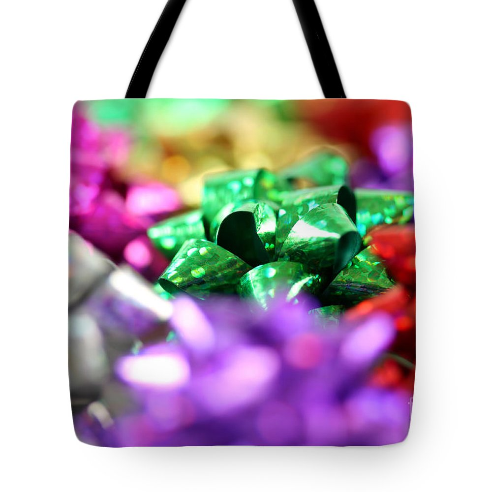 Bow Tote Bag featuring the photograph Gift Bows Close Up by Simon Bratt Photography LRPS