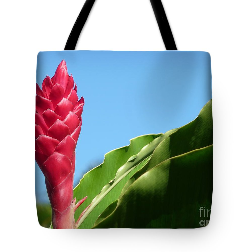 Hawaii Tote Bag featuring the photograph Ginger Flower by Nancy Harrison