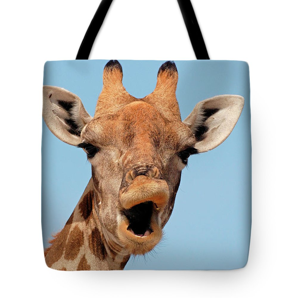 Africa Tote Bag featuring the photograph Giraffe Calling by Malcolm Schuyl