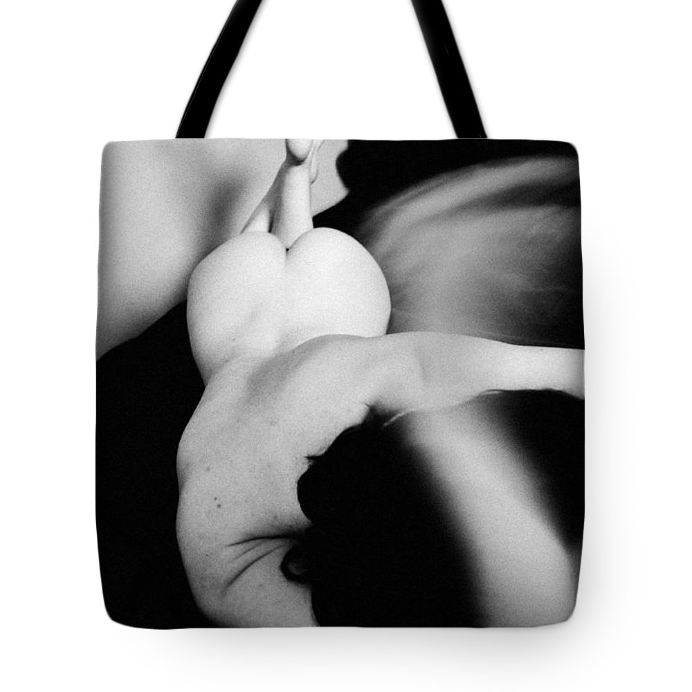 Room Tote Bag featuring the photograph Girl In Bed by Eivydas Timinskas