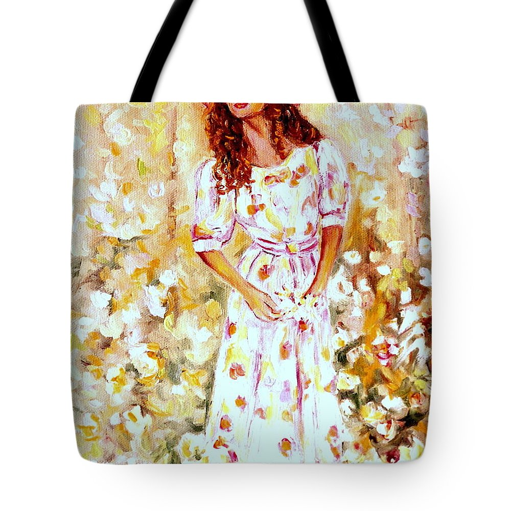 Floral Gardens Tote Bag featuring the painting Girl In The Flower Garden Westmount Quebec Summer City Scene by Carole Spandau