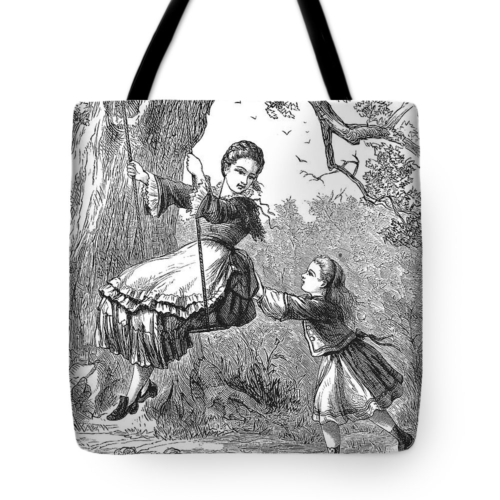 1873 Tote Bag featuring the photograph Girl On Swing, 1873 by Granger