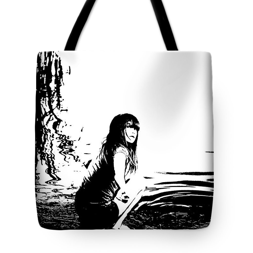 Girl Tote Bag featuring the digital art Girl On The Edge Of The Water by Lori Frostad