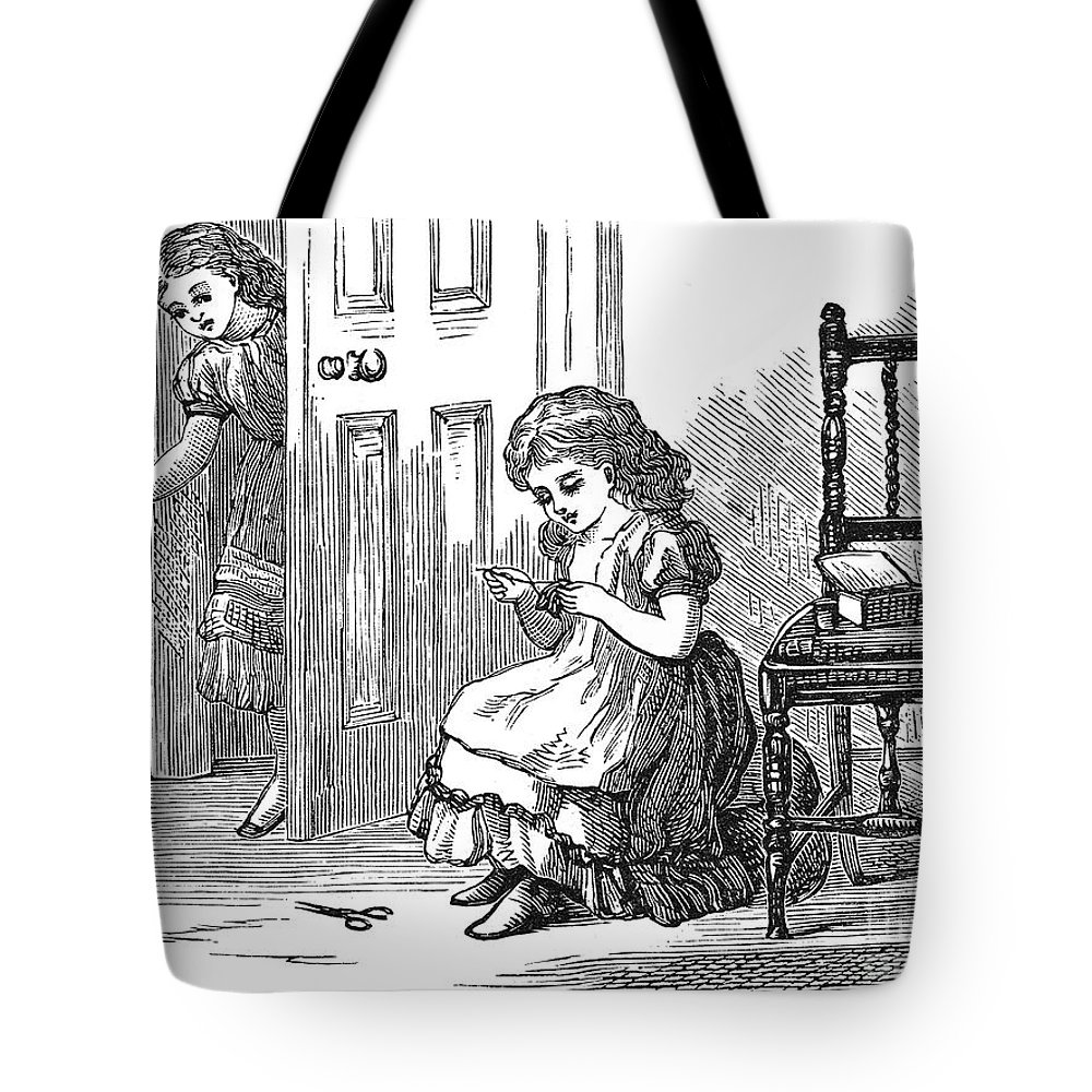 1873 Tote Bag featuring the photograph Girl Sewing, 1873 by Granger