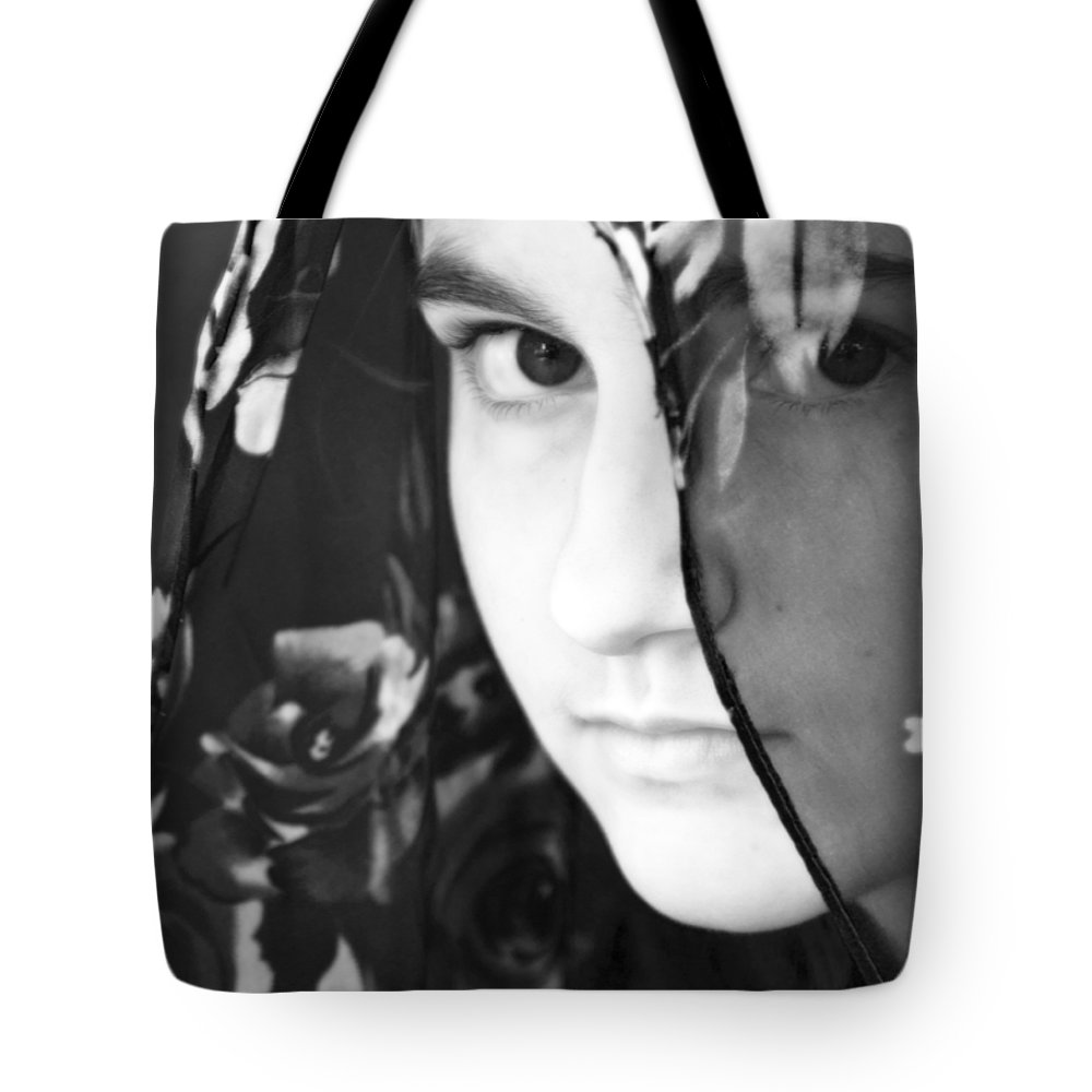 Girl Tote Bag featuring the photograph Girl With A Rose Veil 3 Bw by Angelina Vick