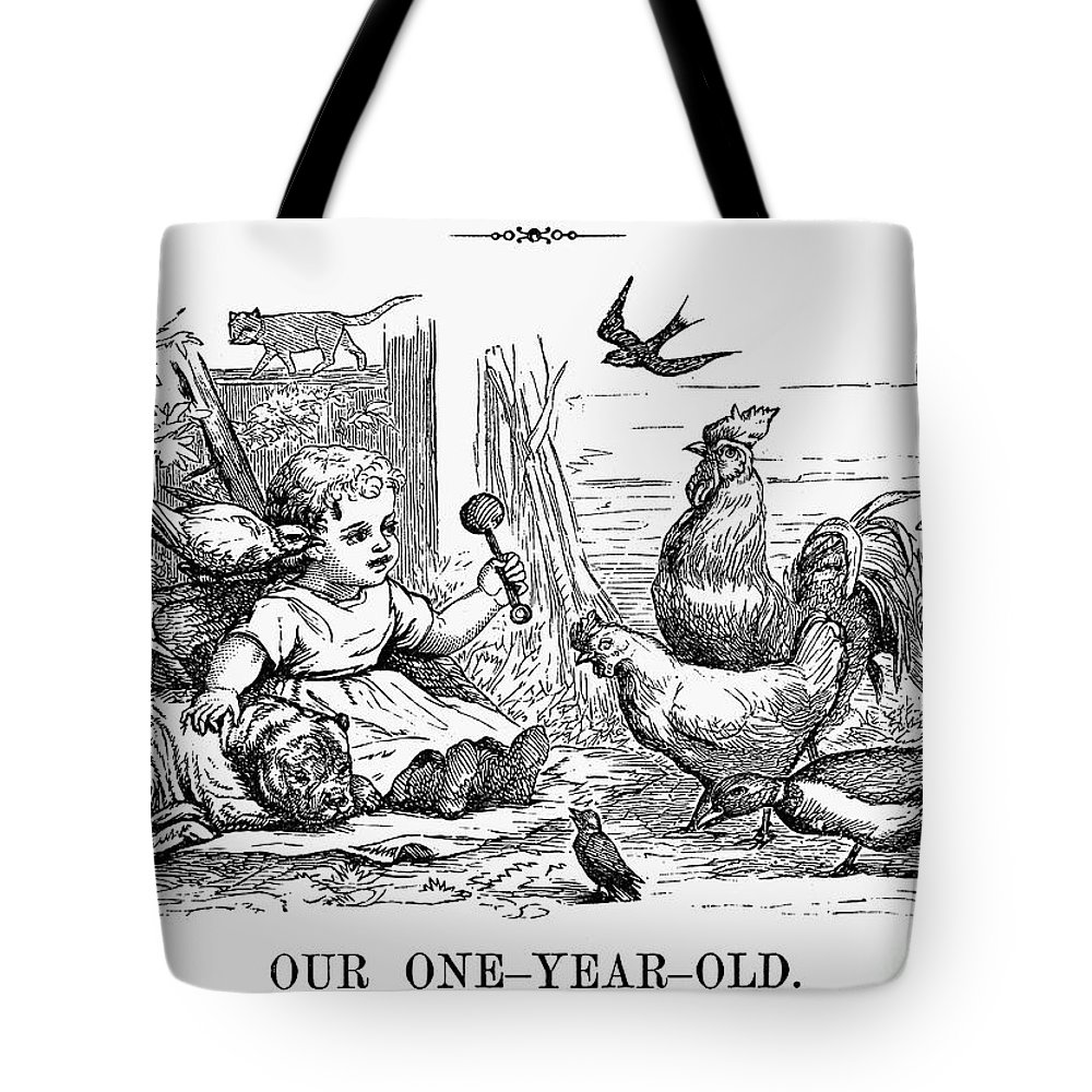 1873 Tote Bag featuring the photograph Girl With Birds, 1873 by Granger