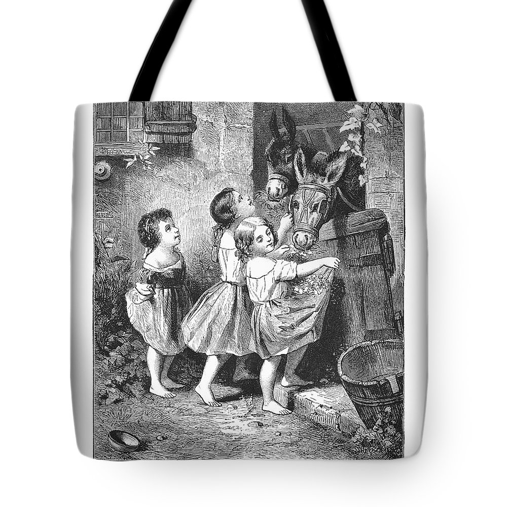 1870s Tote Bag featuring the photograph Girls And Donkeys, C1870 by Granger