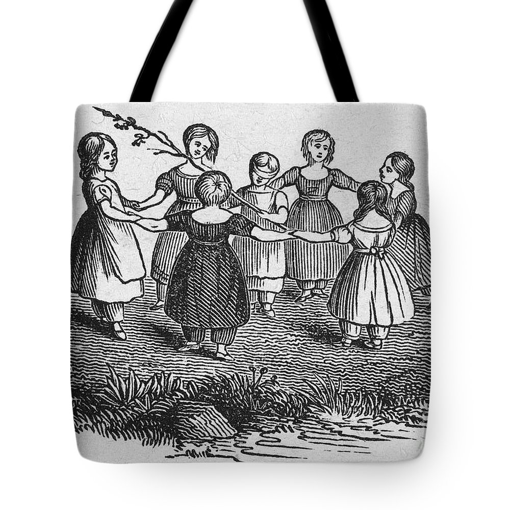 1844 Tote Bag featuring the photograph Girls Playing, 1844 by Granger
