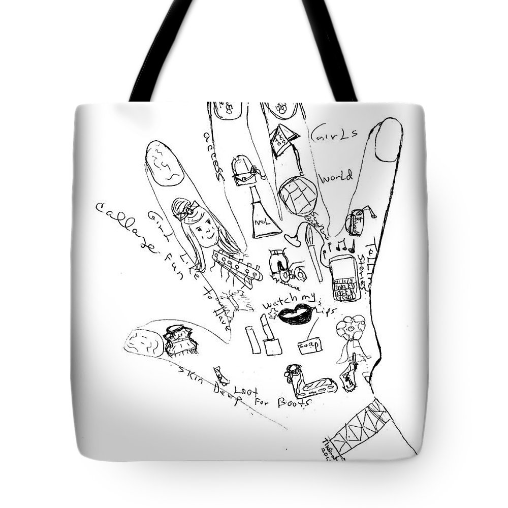 Girl's World Raw Sketch Drawing Tote Bag featuring the drawing Girl's World Drawing Raw Sketch by Thelma Harcum