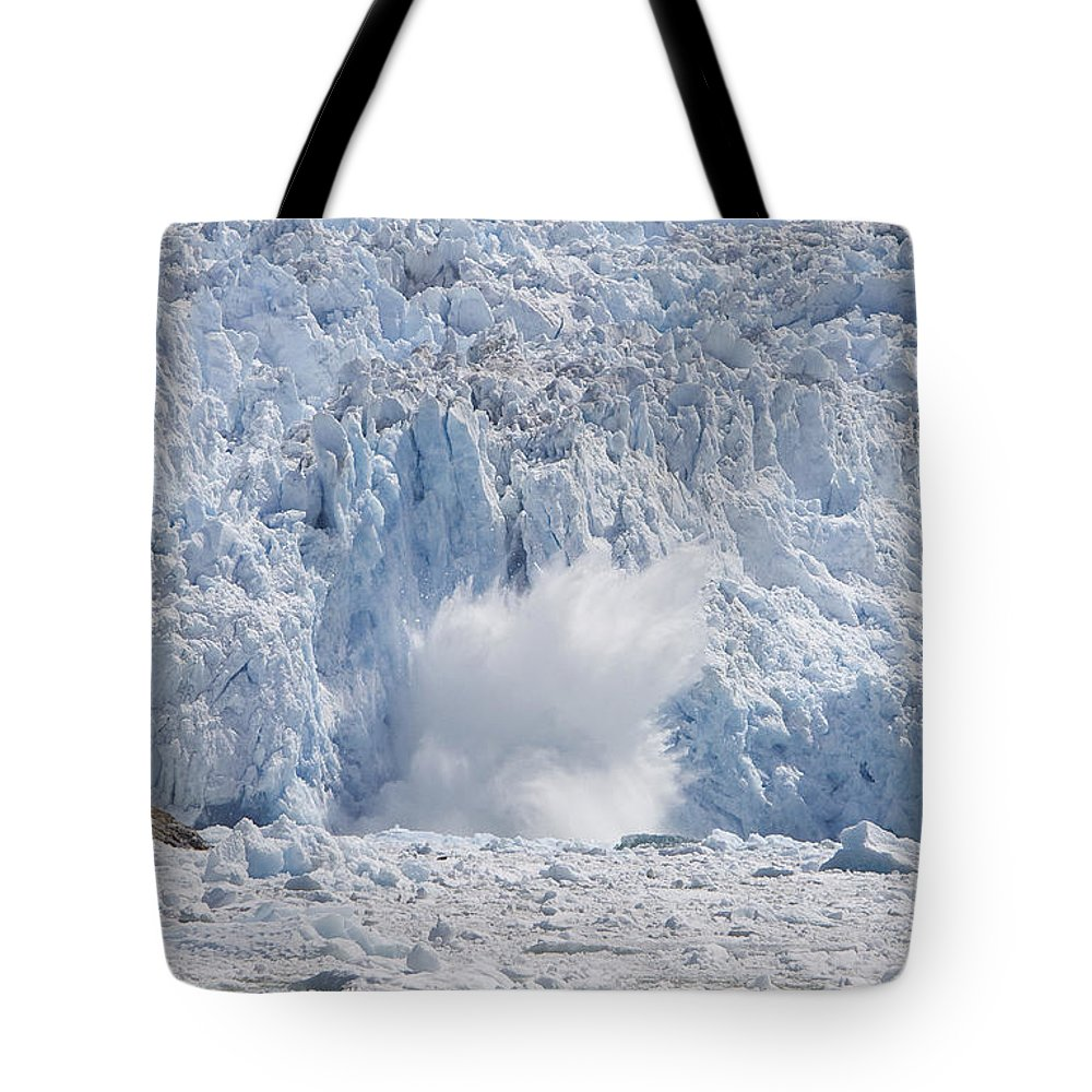 Mp Tote Bag featuring the photograph Glacial Ice Calving Into The Water by Matthias Breiter