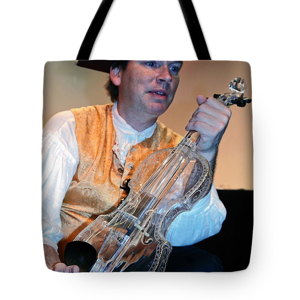 Musician Holding Hario Glass Violin Tote Bag featuring the photograph Glass Violin by Sally Weigand