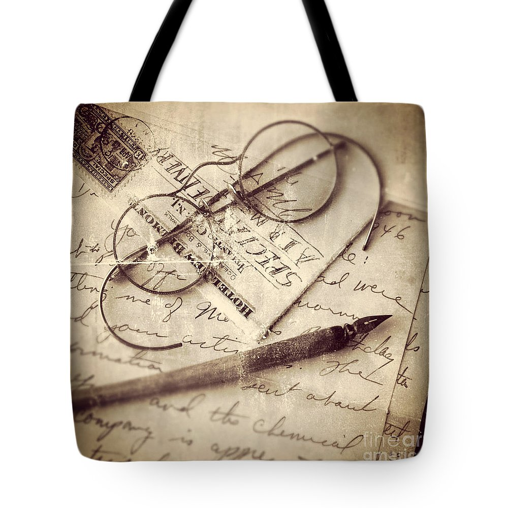 Vintage Tote Bag featuring the photograph Glasses And Ink Pen On Letter by Jill Battaglia