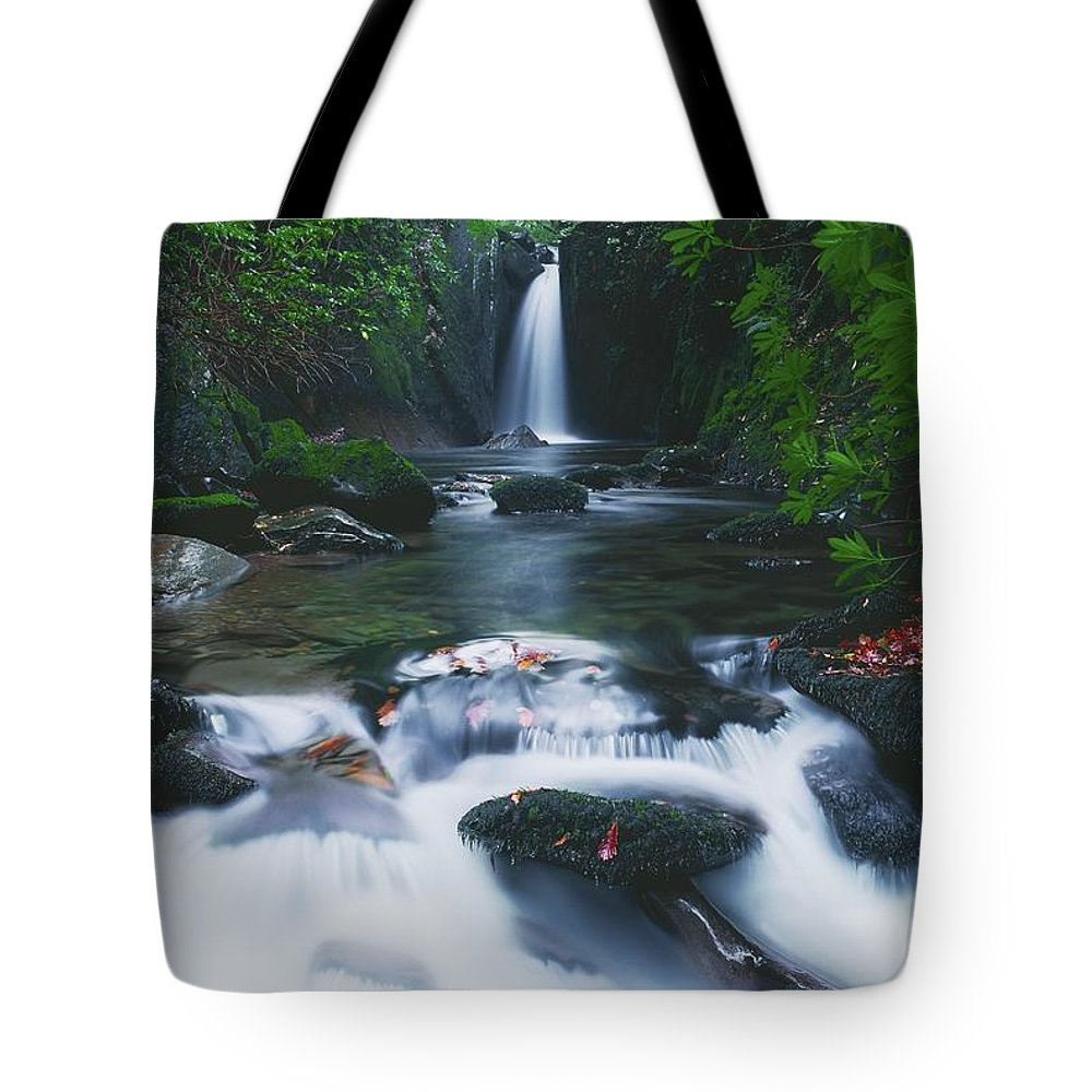 Co Sligo Tote Bag featuring the photograph Glencar, Co Sligo, Ireland Waterfall by The Irish Image Collection