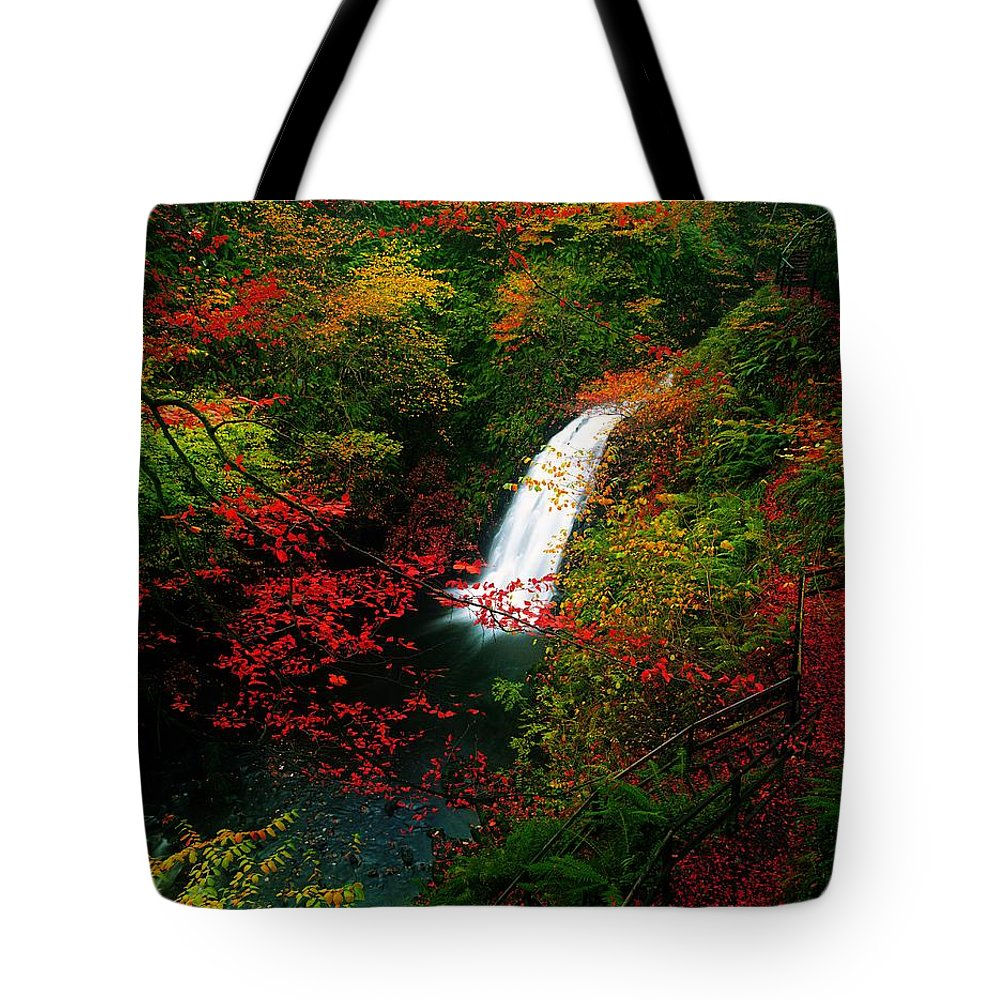 Autumn Tote Bag featuring the photograph Glenoe Waterfall And Glen, Co Antrim by The Irish Image Collection