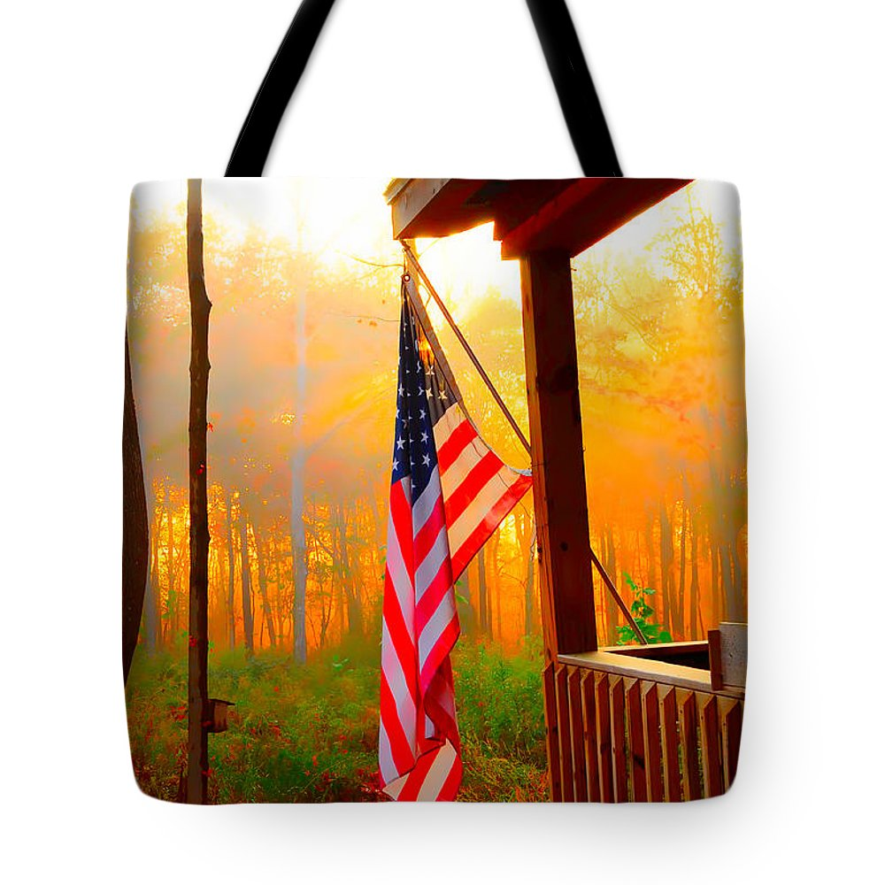 Flag Tote Bag featuring the photograph God Country Home by Randall Branham