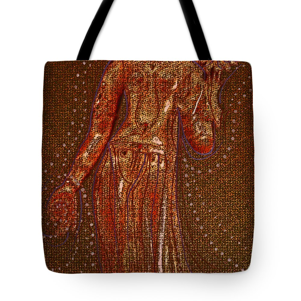 First Star Art Tote Bag featuring the drawing Goddess 1 by First Star Art