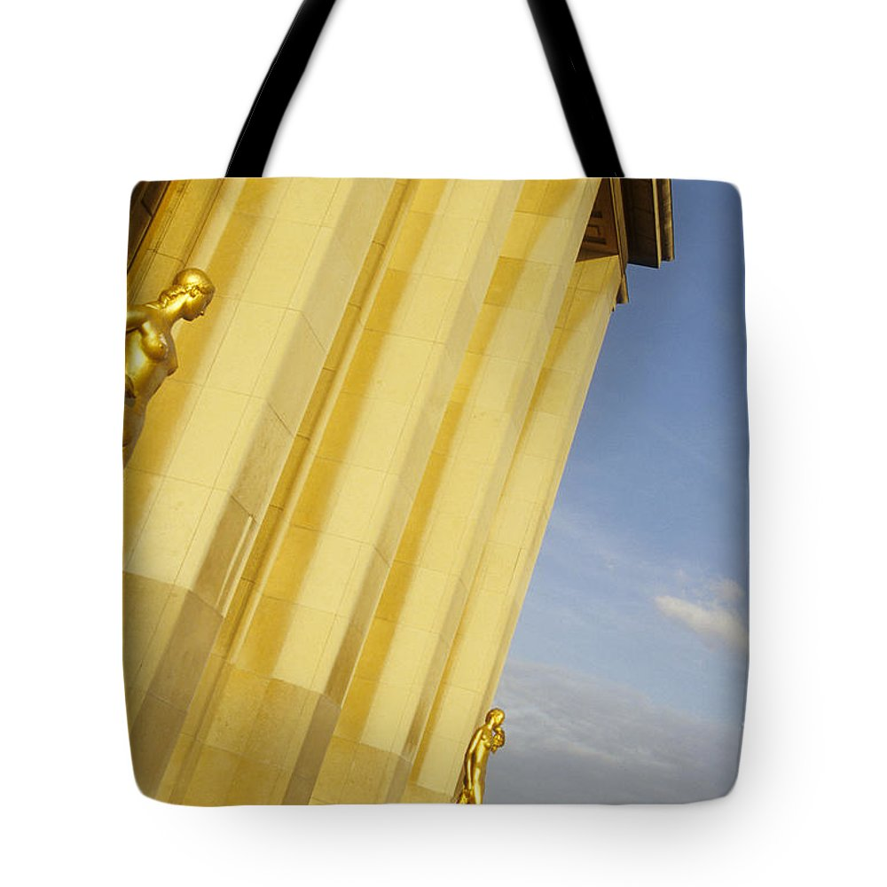Paris Tote Bag featuring the photograph Gold Statue . Trocadero. Paris by Bernard Jaubert