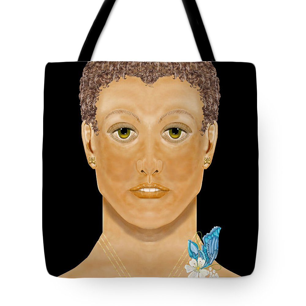 Anne Norskog Hand-drawn Digital Painting Tote Bag featuring the painting Golden Child by Anne Norskog