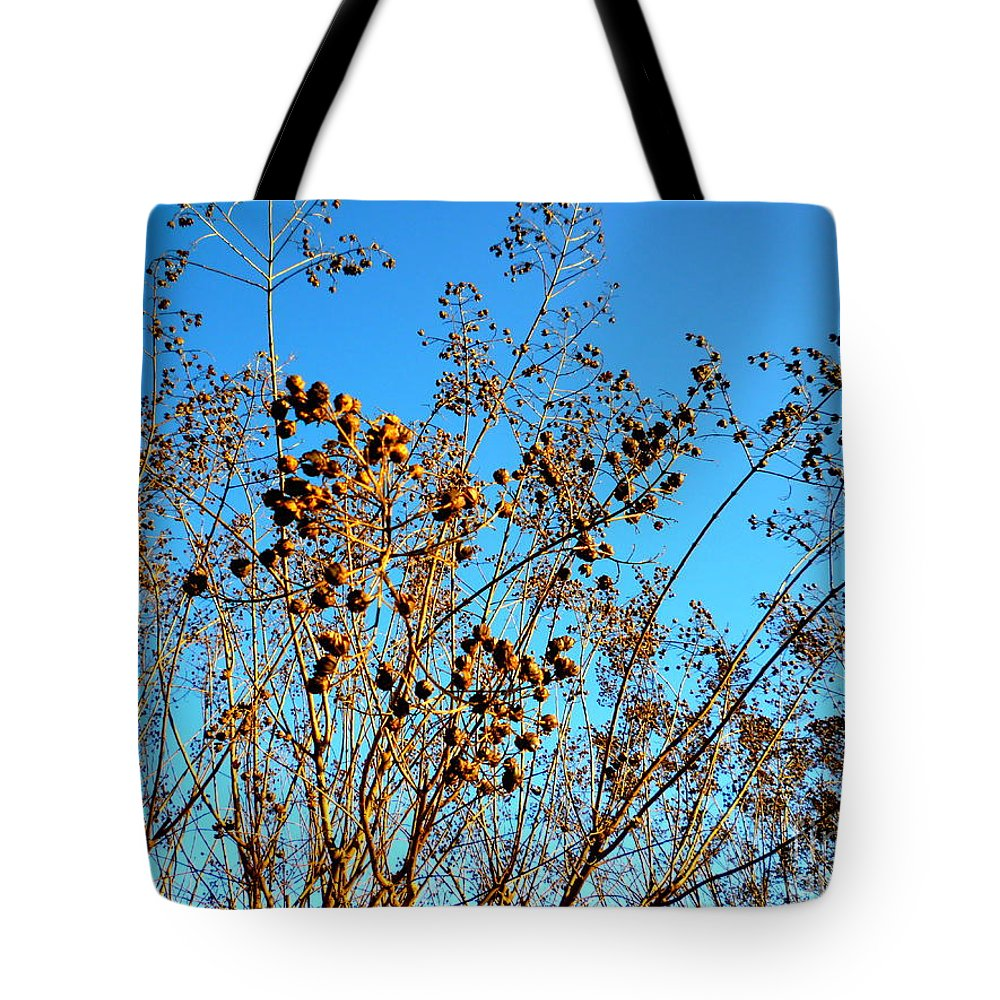 Crepe Tote Bag featuring the photograph Golden Crepe Myrtle Seeds by Renee Trenholm