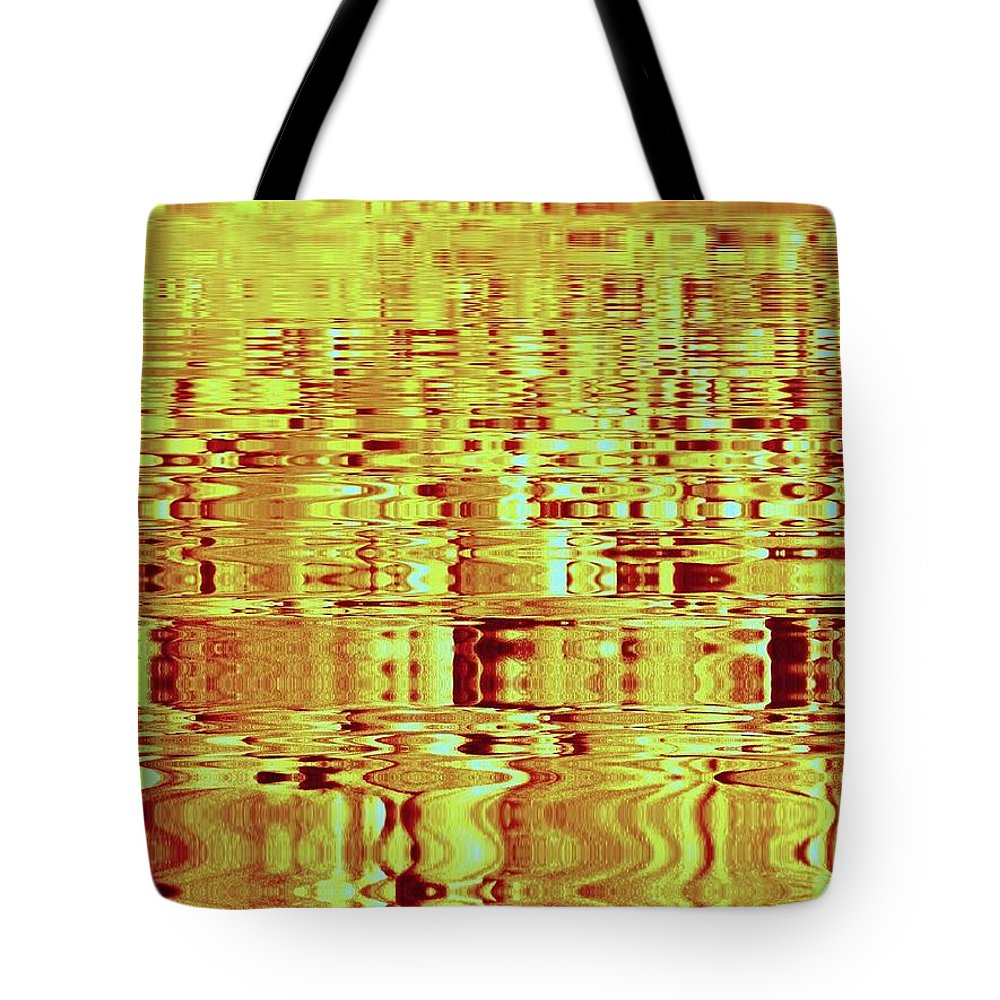 Abstract Tote Bag featuring the photograph Golden Ripples Abstract by Nick Kloepping