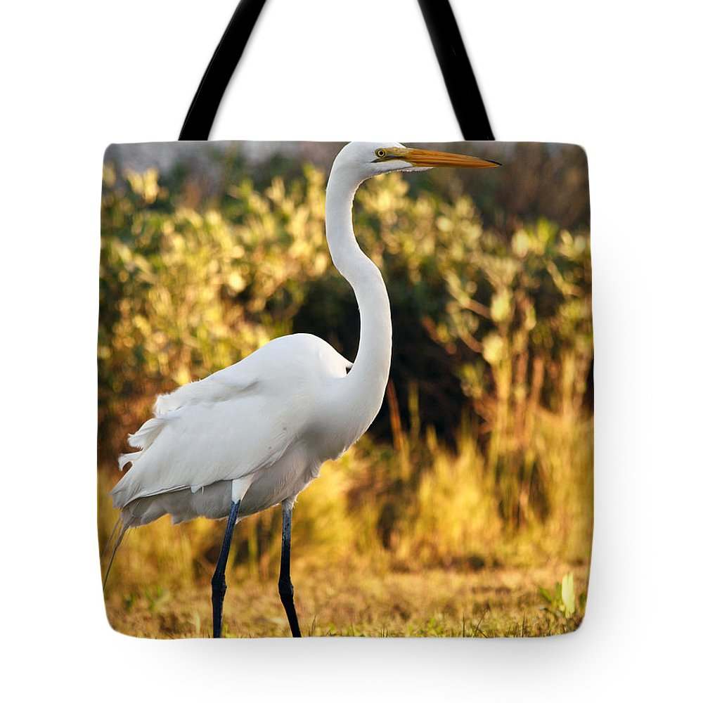 Egret Tote Bag featuring the photograph Golden Sunset by Maria Nesbit