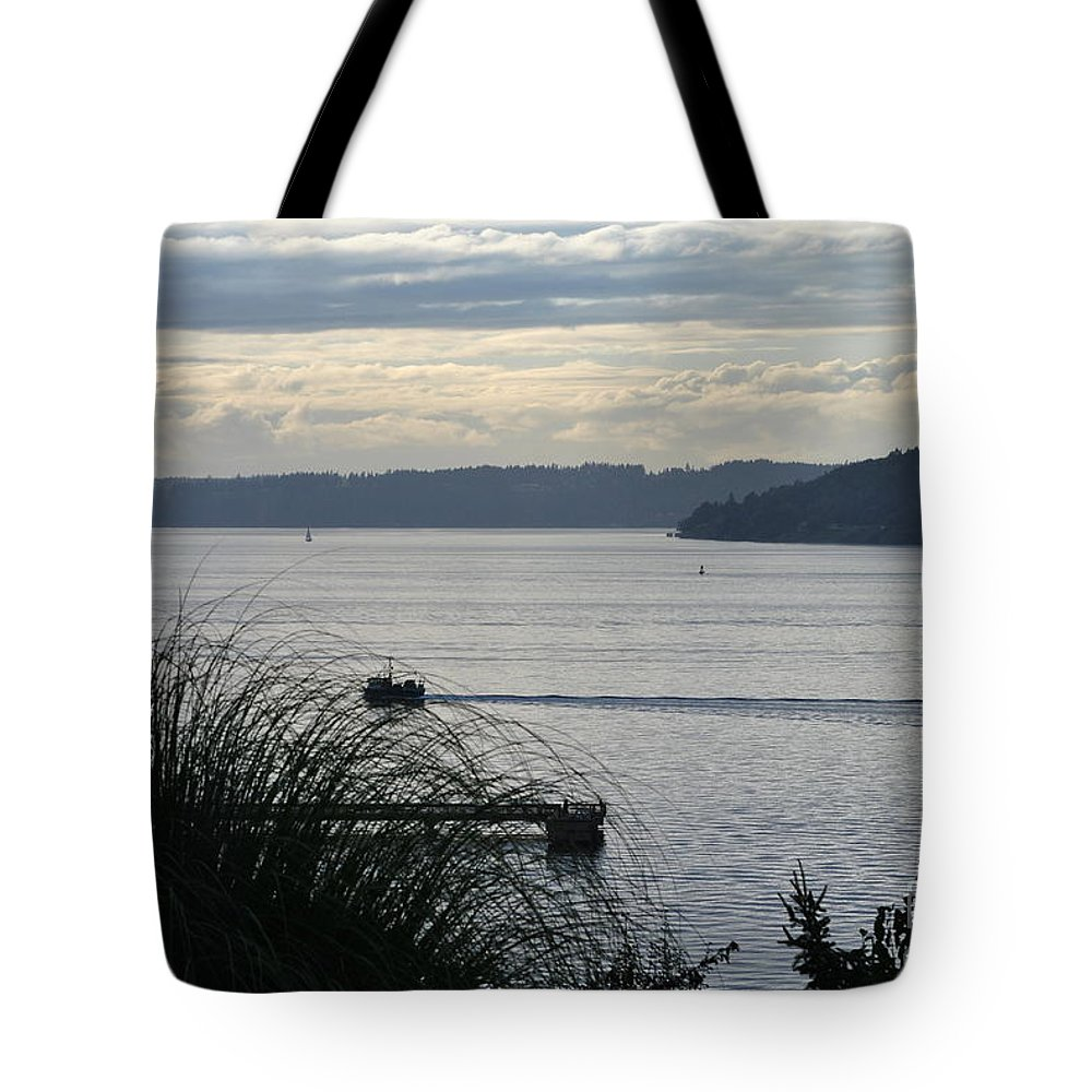 Puget Sound Tote Bag featuring the photograph Gone Fishing by Paulina Roybal