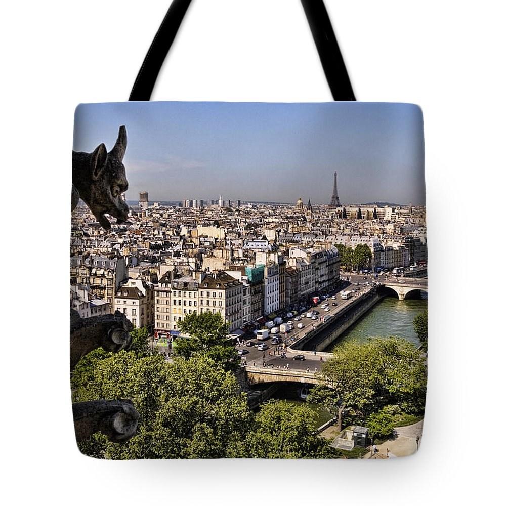 Gorgyle View Of Paris Tote Bag featuring the photograph Gorgyle View Of Paris by Wes and Dotty Weber