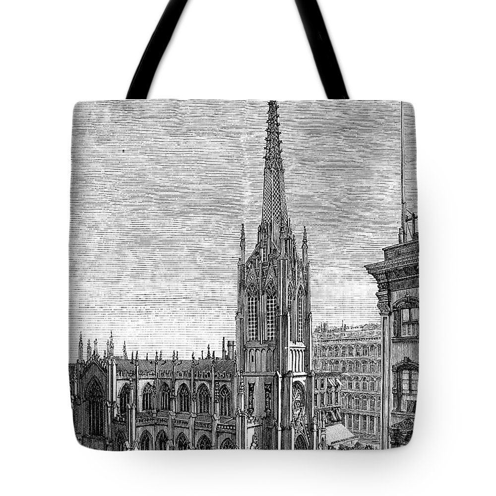 1883 Tote Bag featuring the photograph Grace Church, 1883 by Granger