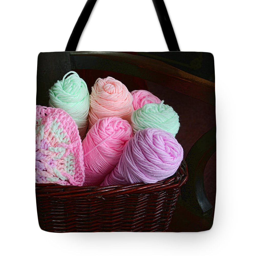 Grandma Tote Bag featuring the photograph Grammy's Yarn Basket by Kathy Clark