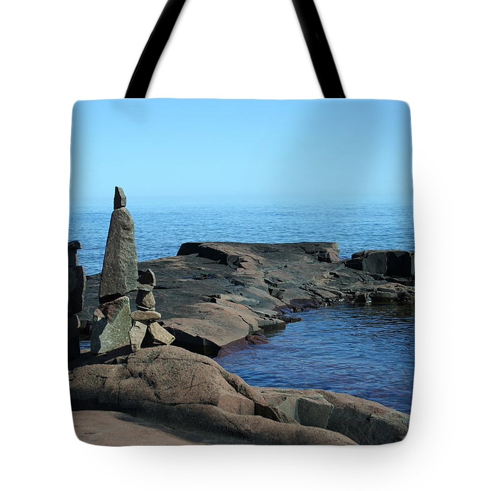 Tote Bag featuring the photograph Grand Marais Harbor Rock Family by Joi Electa