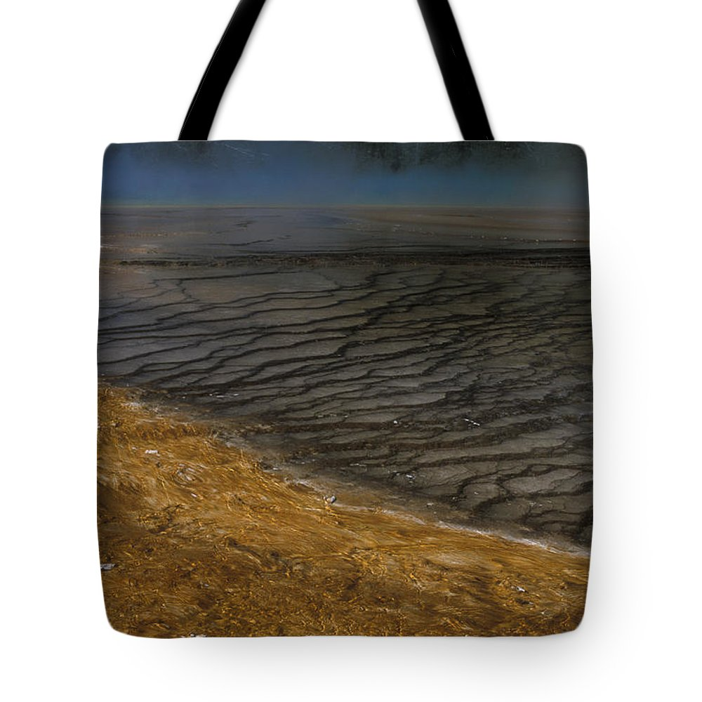 Yellowstone Tote Bag featuring the photograph Grand Prismatic Spring Runoff by Sandra Bronstein