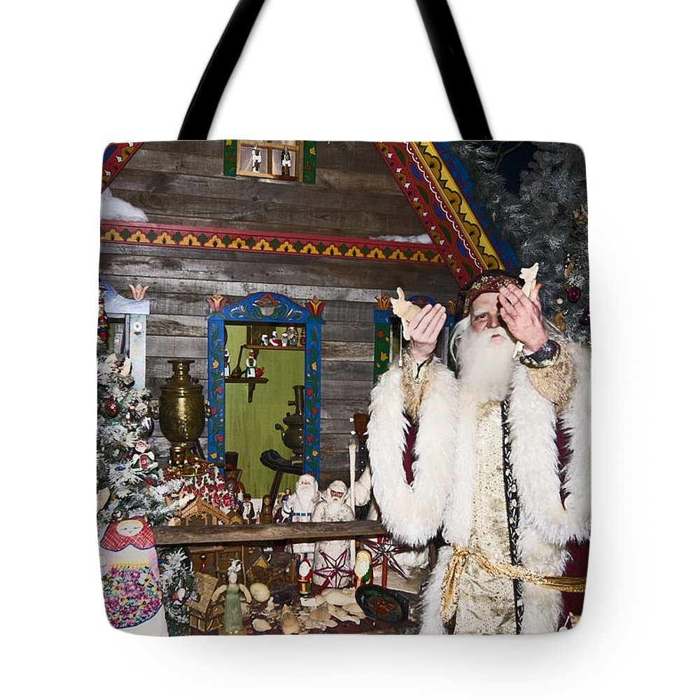 Grandfather Frost Of Russia Figure Tote Bag featuring the photograph Grandfather Frost Of Russia by Sally Weigand