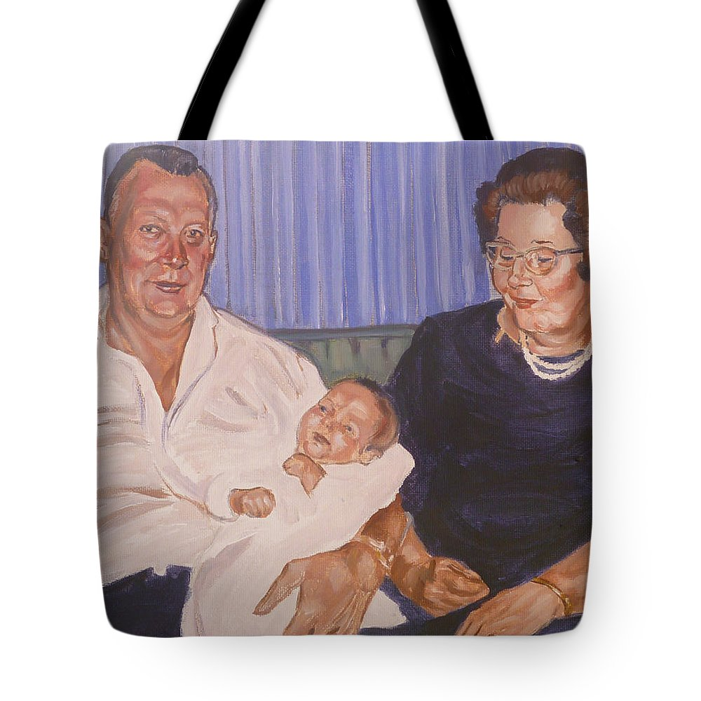 Grandparents Tote Bag featuring the painting Grandpa And Grandma by Bryan Bustard