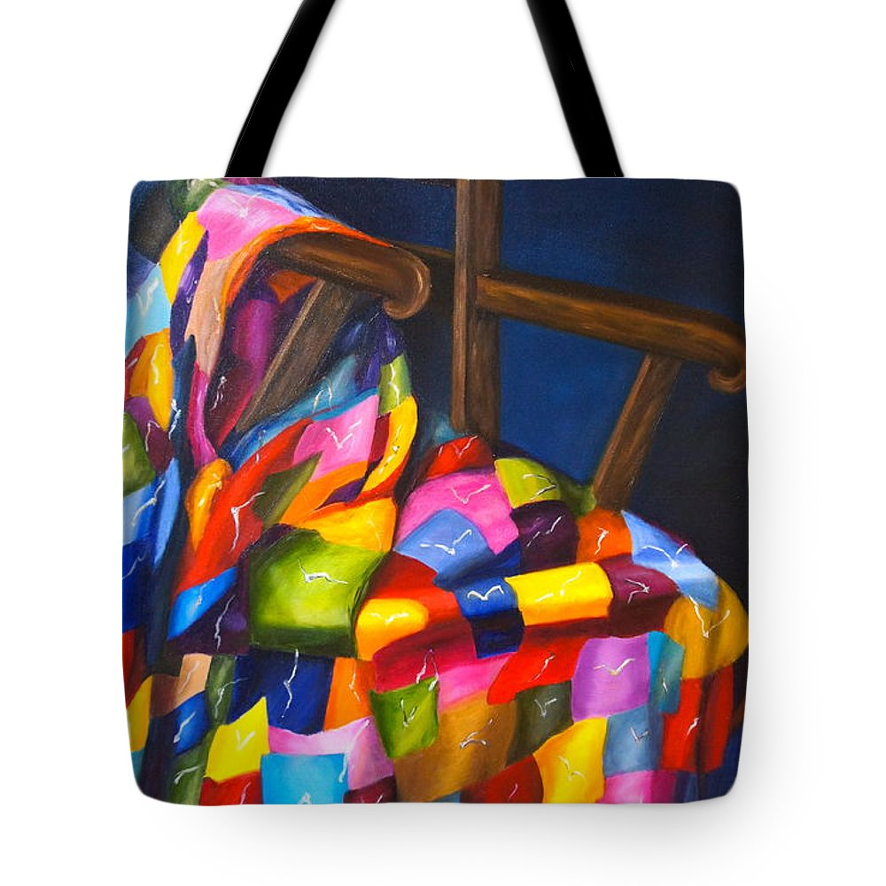 Quilt Tote Bag featuring the painting Gran's Quilt by Marlyn Boyd