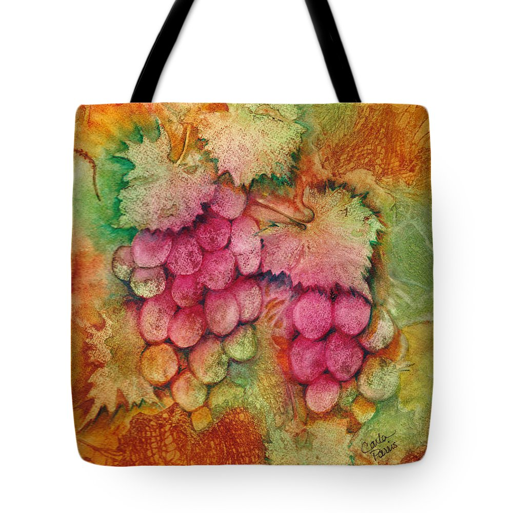 Grapes Tote Bag featuring the painting Grapes With Rust Background by Carla Parris