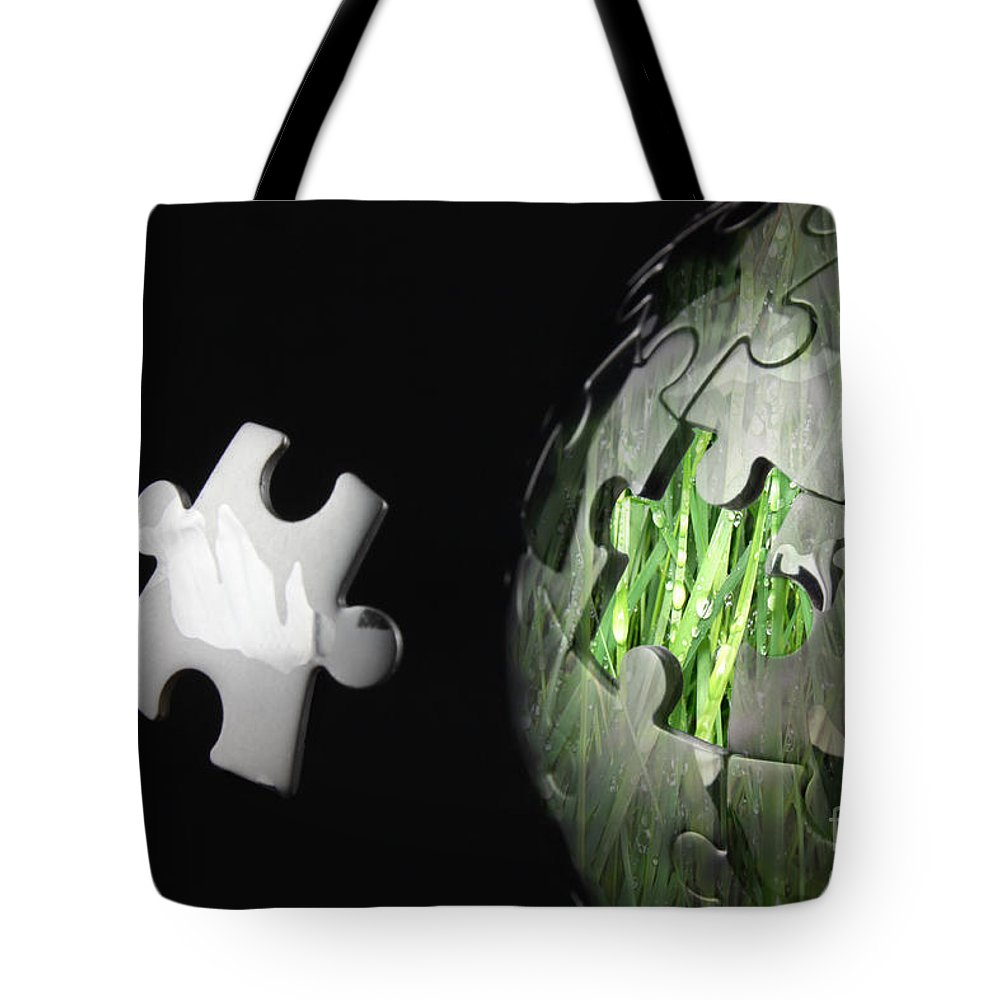 Global Tote Bag featuring the photograph Grass Jigsaw Globe by Simon Bratt Photography LRPS