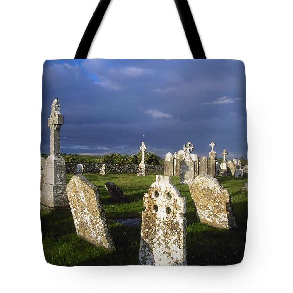 Clonmacnoise Tote Bag featuring the photograph Graveyard, Clonmacnoise, County Offaly by Gareth McCormack